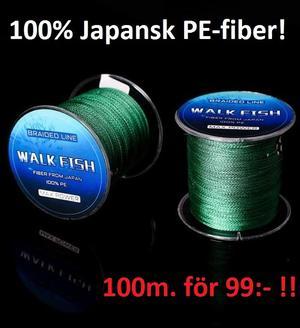 Walkfish S4 mossgrön 100m för 99:- (100% Japansk  PE-fiber!)