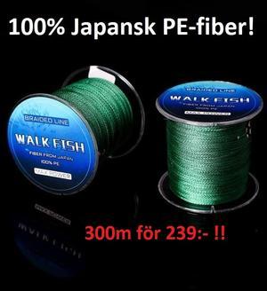 Walkfish S4 mossgrön 300m för 239:- (100% Japansk  PE-fiber!)